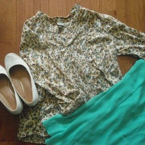 ~Merona Floral Button Down Blouse~